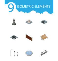 Isometric city set of barrier street lanterns vector