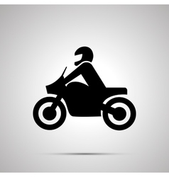Motorcyclist simple black icon vector image vector image