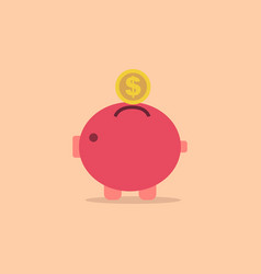 pig bank with coin icon in simple style vector image vector image