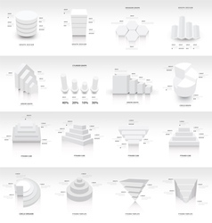 White infographic 3d Graph template vector image vector image