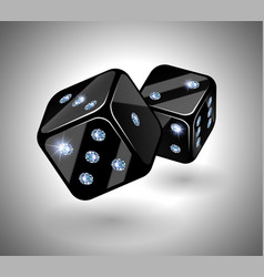 black dices with diamonds vector image vector image
