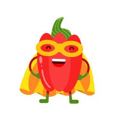 cute cartoon smiling red pepper superhero in mask vector image