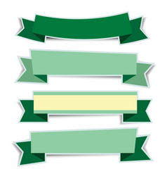 green ribbon banners sticker with shadow on white vector image