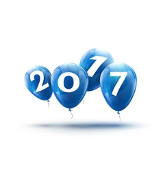 Happy New Year 2017 blue balloons design Greeting vector image vector image