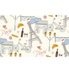 Paris symbols postcard seamless pattern vector image