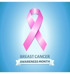 Realistic pink ribbon on blue breast cancer vector image