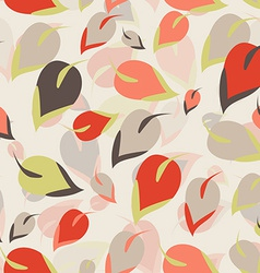 Seamless pattern Orange brown green leaves on a vector image vector image