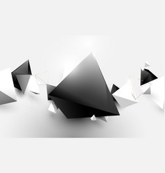 abstract white and black 3d pyramids background vector image