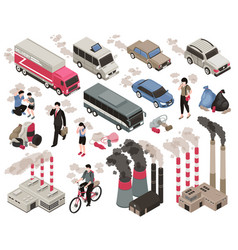 air pollution isometric set vector image