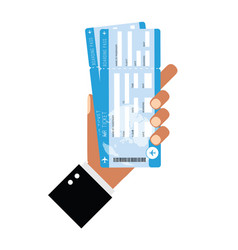 air ticket in man hand vector image