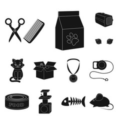 An animal cat black icons in set collection for vector