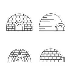 Arctic igloo icon set outline style vector