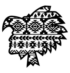 Aztec tribal warrior with southwest pattern vector