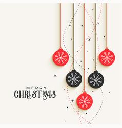 beautiful christmas decorative balls greeting vector image