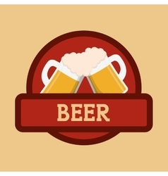Beer mugs foam clinking red label vector