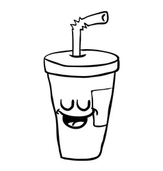 black and white happy freehand drawn cartoon soda vector image