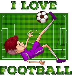 Boy in sportswear playing football vector image