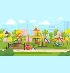Bright playground in park vector