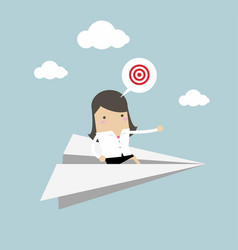 businesswoman flying on paper plane vector image