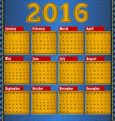 Calendar for 2016 leather patch on denim vector image