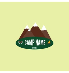 Camping colorful logo Mountain bonfire and crossed vector