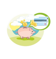 Card with pink piggy bank and coins vector image
