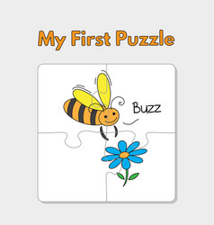 cartoon bee puzzle template for children vector image
