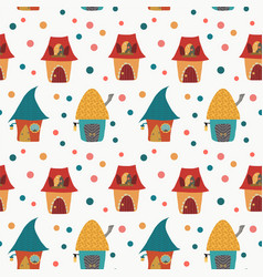 cartoon houses childlike pattern on white backgrou vector image