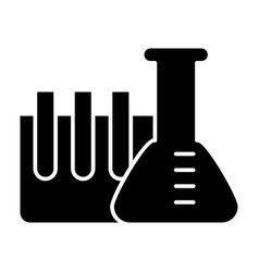 chemistry tubes solid icon flask with ampoule vector image