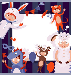 children in costumes animals new years vector image