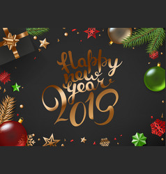 christmas composition top view happy new year 2019 vector image