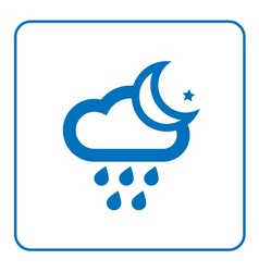 Cloud rain and moon star icon vector