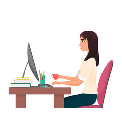 coffee break time at office workplace vector image