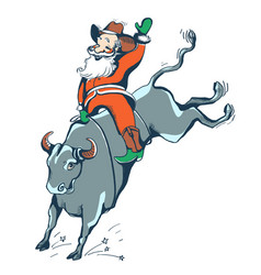 Cowboy santa on the rodeowestern rodeo bull vector