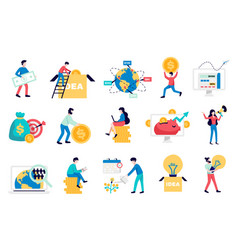 crowdfunding flat icons set vector image