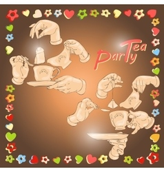 Cup hands cookies and words Tea Party vector