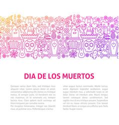 Dia de los muertos line design template vector