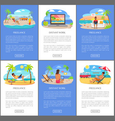 Distant work and freelance all over world set vector