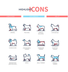 dog breeds - modern line design style icons set vector image