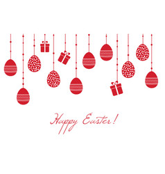 Easter greeting card with hanging decorative eggs vector
