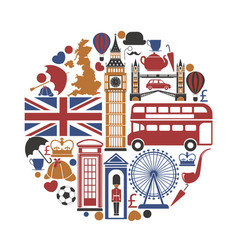 England uk travel sightseeing icons and vector