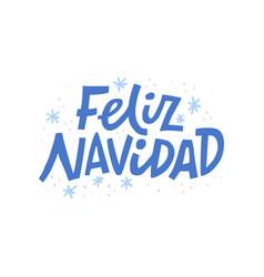 Feliz navidad hand drawn blue lettering vector