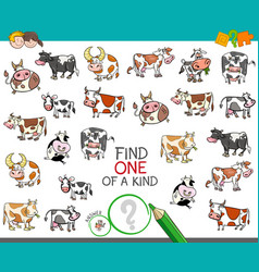 Find one of a kind with cow characters vector