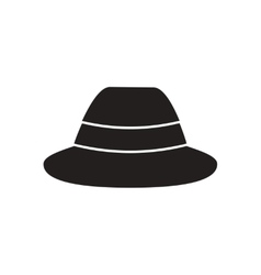 Flat icon in black and white men hat vector image