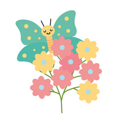 flowers garden plant with beautiful butterfly vector image