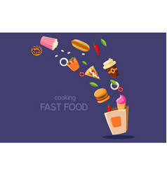 Fresh meal flying into a box cooking fasr food vector