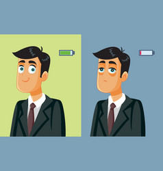full energy businessman getting burnout syndrome vector image
