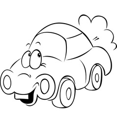 funny car cartoon - black outline vector image