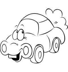 Funny car cartoon - black outline vector
