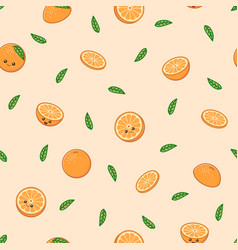 funny orange pattern kawaii orange on warm vector image